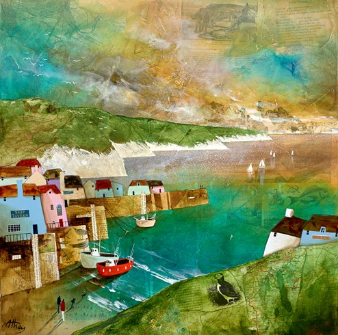Harbour Stroll by Keith Athay - Varnished Original Painting on Box Canvas